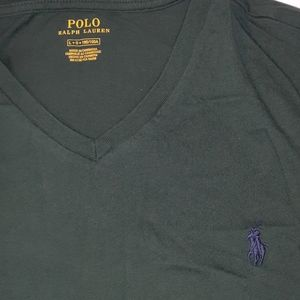 Mens Forest Green Ralph Lauren Polo V-Neck Shirt L